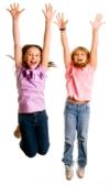 girls jump for joy